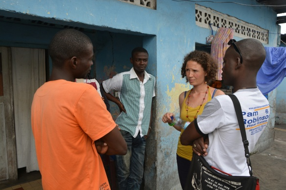 Catherina meeting refugee students from CAR.